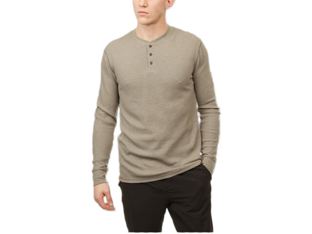 tentree TreeWaffle T-shirt à col tunisien manches longues Homme, vetiver green